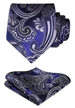 HISDERN Paisley Tie Handkerchief Woven Classic Men's Necktie & Pocket Square Set (Blue ...