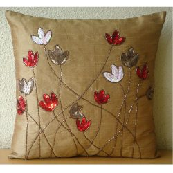 22″x22″ Throw Pillow Cover, Gold Throw Pillows Cover for Couch, Sequins & Beaded ...