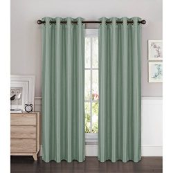 Window Elements Kim Faux Silk Extra Wide 108 x 84 in. Grommet Curtain Panel Pair, Splash Blue