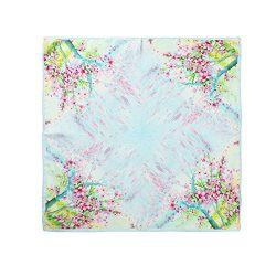 Aqueena Women's 100% Luxury Square Silk Neckerchief Digital Printing Scarf (Four trees pri ...