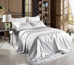 Hight Thread Count Solid Color Soft Silky Charmeuse Satin Luxury and Super Soft Bed Sheet Set (S ...