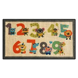 Silk & Sultans Agathe Collection Kids Numbers Design, Pet Friendly, Non-Slip Doormat with Ru ...