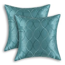 Pack of 2 CaliTime Cushion Covers Throw Pillow Cases Shells for Home Sofa Couch, Modern Waves Li ...