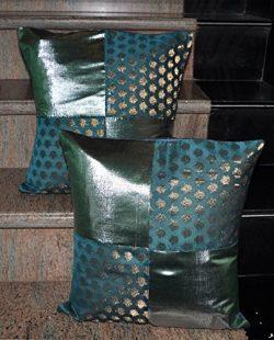 Rajasthani Handmade Patchwork Design Silk Cushion Cover 16 X 16 Inches Set Of 2 Pcs