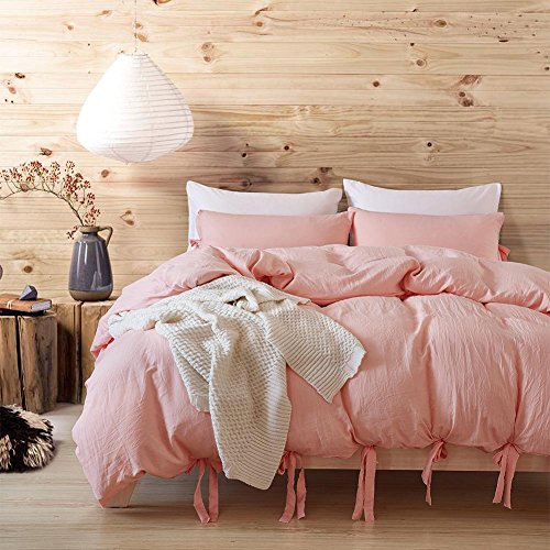 Dushow Solid Color Egyptian Wash Cotton Duvet Cover Luxury Bedding Set High Thread Count Long St