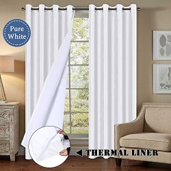 Blackout Curtains 96″ Length for Bedroom, Faux Doupion Silk Panels with Natural Liner Back ...