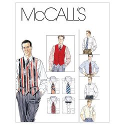 McCall's Patterns M2447 Men's Lined Vest, Shirt, Tie In Two Lengths and Bow Tie, Siz ...
