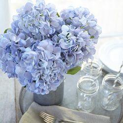 Artificial Hydrangea Silk Flowers for Wedding Bouquet, Flower Arrangements – Blue Color, 5 ...