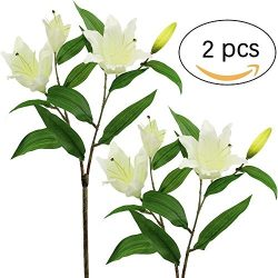 Supla 2 Pcs Real Touch Silk Flower Multi-headed Tiger Lily Spray with leaves blooms and buds 29& ...