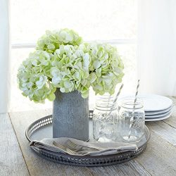 Artificial Hydrangea Silk Flowers for Wedding Bouquet, Flower Arrangements – Green Color,  ...