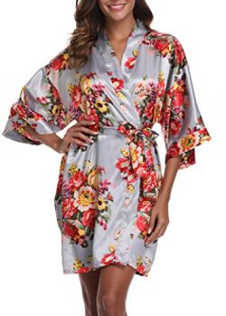 1stmall Floral Satin Kimono Short Style Bridesmaids Robes For Women, Silver L