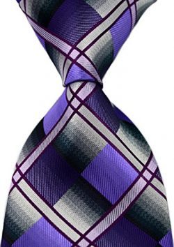 Scott Alone : New Classic Checks Jacquard Woven Silk Men's Tie Necktie (Purple/Gray)