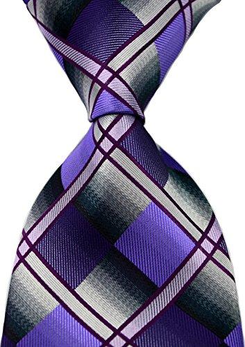 Scott Alone : New Classic Checks Jacquard Woven Silk Men's Tie Necktie (Purple/Gray)