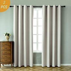 Beige Curtains 84 inches long-2 Pack Faux Silk Thermal Insulate Solid Grommet Blackout Curtains  ...