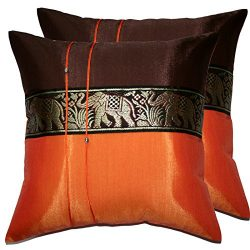 2 Pieces Elephant Decorative Pillow Cover Cushion Cases Throw Sofa Color Orange-Brown Size 16&#2 ...