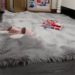 Faux Silky Deluxe Sheepskin Round Area Shag Rug Children Play Carpet For Living & Bedroom (4 ...