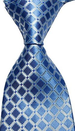 NEW EXT Collectino 100% Silk Necktie Classic Men's Checks Tie (Blue)
