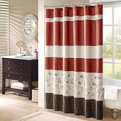 Serene Faux Silk Embroidered Floral Shower Curtain Spice 72×72″