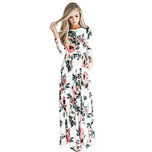 1cdd241ff8f Opslea Women Floral Print Long Sleeve Boho Dress Silk Elegant Long Maxi  Dress