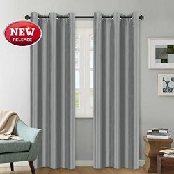 Faux Silk Grey Curtain 84 inch Privacy Protection Window Panel Natural Light Dimout Curtain Drap ...