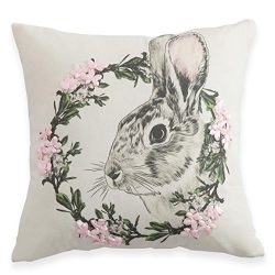 Easter Decorations Pillow Covers Handmade Silk Ribbon Embroidery Cute Rabbit Wreath Decorative T ...