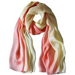 K-ELeven Silk Scarf Gradient Colors Scarves Long Lightweight Sunscreen Shawls for Women SK073-B