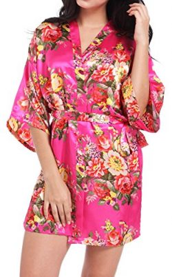 DF-deals Women's Kimono Satin Floral Robes for Bride and Bridesmaid Wedding Party Gift Sil ...