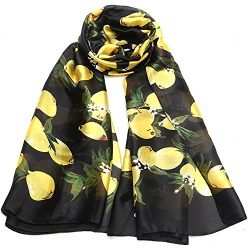 Sleep Koala Women Silk Scarf Large Satin Hair Scarves Fashion Lemon Pattern Wrap Black