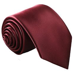Fortunatever Classical Men's Solid Necktie With Gift Box (Burgundy Red)
