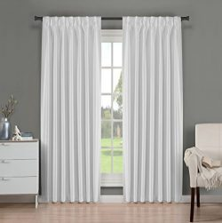 Brielle Fortune Faux Dupioni Silk Lined Insulated Room Darkeninng Back Tab/Pinch Pleat Panel, 29 ...