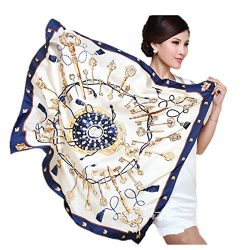 MoonlightCity Womem's Square Silk Scarf Or Head Scarf for Sleeping Headband 35×35 Inc ...