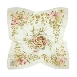 TONY & CANDICE Women's Graphic Print 100% Silk, Silk Scarf Square , 33X33 Inches (Whit ...
