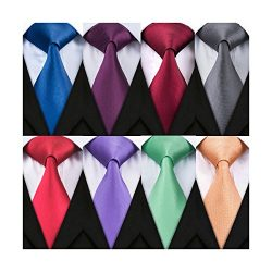 Barry.Wang 8 Pack Men's Solid Ties Silk Woven Neckties Bussiness,Party,Wedding(59″3. ...