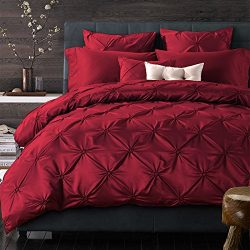 6-Piece Bedding Sets- Duvet Cover, Flat Sheet, Pillowcase Set (Red, Queen)
