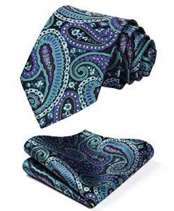 HISDERN Men's Paisley Floral Tie Handkerchief Wedding Silk Woven Classic Necktie & Poc ...