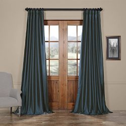 Half Price Drapes PTCH-JTSP194010-84 Faux Silk Taffeta Curtain, Navy Blue