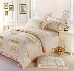 wwgy Flash Sale Bedding Gold Floral Bed Sheet Set Warm and Soft Bedspread Gifts Tribute Silk Com ...