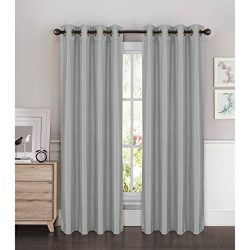 Window Elements Kim Faux Silk Extra Wide 108 x 96 in. Grommet Curtain Panel Pair, Silver