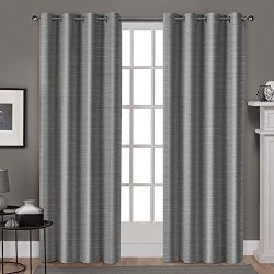 Exclusive Home Curtains Whitby Grommet Top Window Curtain Panel Pair, 96″ Length, Black Pe ...
