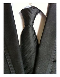 Secdtie Men's Stripe Solid Black Jacquard Woven Silk Tie Formal Necktie TW012