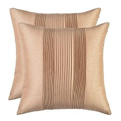 Set of 2, Artcest Accordion Pleat Striped Throw Pillow Case Faux Silk Solid Square Pillow Cover  ...