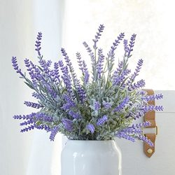 Artificial Lavender Plant with Silk Flowers for Wedding Decor and Table Centerpieces – 4 P ...