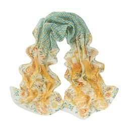 Scarf,Han Shi Women Peacock Pattern Soft Silk Scarves Sexy Chiffon Shawl Wraps Voile (L, Yellow)