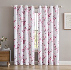 HLC.ME Jasmine Floral Faux Silk 100% Blackout Room Darkening Thermal Insulated Curtain Grommet P ...