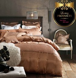 Luxury Solid Champagne Duvet Cover Set Full Queen Vintage European Bedding Set Washed Silk Cotto ...