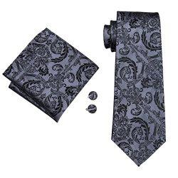 Barry.Wang Black Ties Woven Necktie Handkerchief Cufflinks Set Formal (Black 13)