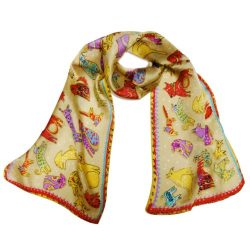 Wrapables Vibrant 100% Silk Long Scarf 51″ x 10.5″, Happy Puppies