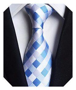 Wehug Men's Classic Plaid Tie Silk Woven Necktie Jacquard Neck Ties For Men White Blue LG0022