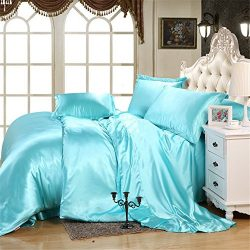Imperial Luxury Top Quality Satin Silk Like Solid Color 4-piece Bedding Sets- 1 Fitted Sheet ,1  ...