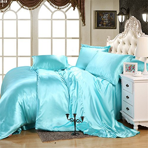 imperial luxury top quality satin silk like solid color 4 piece bedding sets 1 fitted sheet 1. Black Bedroom Furniture Sets. Home Design Ideas